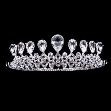 Silver white rhinestone bride married Crown