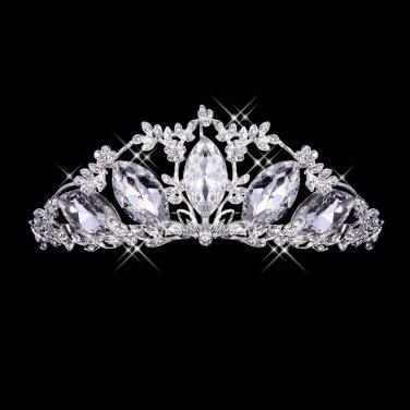 Gorgeous silver diamond bride headdress