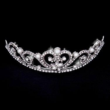 Beautiful silver-white wedding tiaras