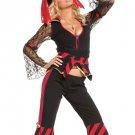 Sexy Black Acrylic Spandex Pirate Costume