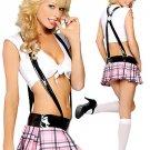 Plaid Acrylic Spandex Womens School Girl Costume