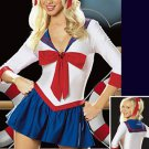 Nylon Womens Deep V-neck School Girl Costume