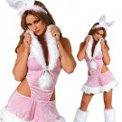 Glamorous Pink Acrylic Spandex Sexy Bunny Costume