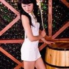 White Sleeveless Cheongsam Silk Costume