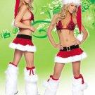 Wonderful Red Christmas Hat Bra Skirt Leg Warmers
