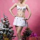 Velvet Christmas Skirt Bra Briefs Hairpin
