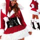 Zipper Front Hooded Velvet Sexy Christmas Costume