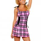 Pink Plaid Pattern Womens Sexy Fantasy Costume