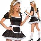 Alluring Black Acrylic Spandex Sexy Maid Costume