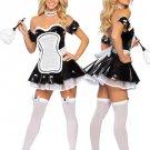 Attractive Black White Acrylic PU Sexy Maid Costume