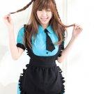 Revealing Blue Black Short Sleeves Maid Costume