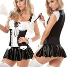 Fantastic Black White Acrylic Lace Sexy Maid Costume