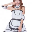 White Polyester Black Brim Strapless Sexy Maid Costume