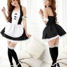 Black White Polyester Halter Women's Sexy Maid Costume
