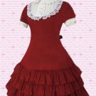 Cotton Red Short Sleeves Ruffles Classic Lolita Dress