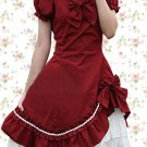 Cotton Red Lolita Two-layer Bow Classic Lolita Dress