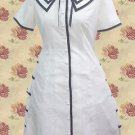 White Single Breasted Button Cotton School Lolita Dress With Sho