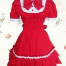 Red Bow Ruffles Cotton Classic Lolita Dress With Short Sleeves