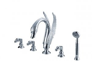 Free shipping swan bathtub faucet 5pcs hole widespread swan bathand shower faucet