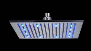 Free shipping brass square led shower head 30x30cm