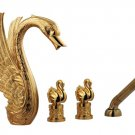 gold pvd finish 5pcs widespread solid brass swan tub and shower faucet WITH hand shower