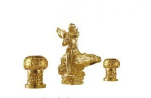 gold finish 3 Pcs ROMAN lovely girl Flower Fairy sink faucet  8 Inch widespread lavatory sink faucet