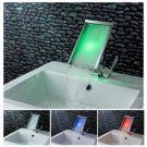 FREE SHIPPING Contemporary Color Changing LED Waterfall Bathroom Sink Faucet