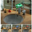FREE SHIPPING Color Changing LED Waterfall Widespread Bathroom Sink Faucet