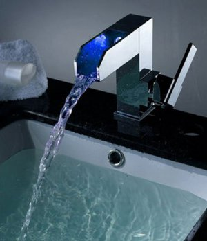 New design Color Changing LED Waterfall Bathroom Sink Faucet