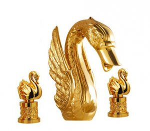 PVD gold swan sink faucet widespread 8 inch swan lavatory faucet mixer  tap