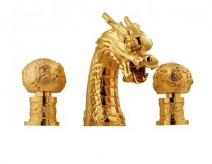 gold pvd clour  widespread 8 inch dragon lavtory sink  faucet