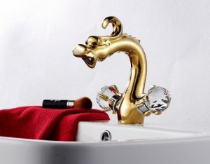gold  clour double handles dragon basin sink mixer faucet