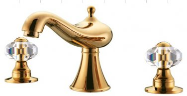 Free shipping new design gold clour 8 inch widespread lav sink faucet with crystal handles