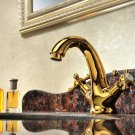 Free shipping gold  clour single hole  basin sink faucet