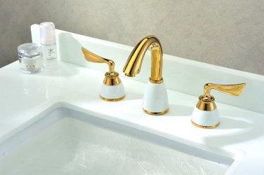 Free shipping new design gold clour 8 inch widespread lavatory sink faucet ceramic faucet