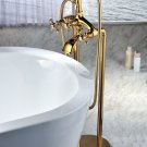 Free standing bathtub floor mounted 24k gold bathroom bathtub  faucet