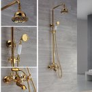 Gold clour Rainfall  shower TUB faucet  mixer tap wall mounted shower faucet