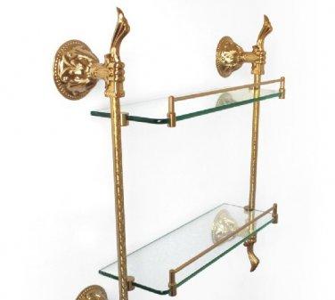 FREE SHIPPING gold double glass shelf