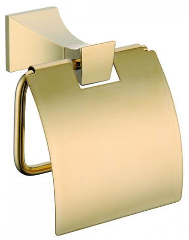 GOLD square design roll holder with cover toilet paper holder