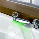 Contemporary 3 Color Changing LED Waterfall Bathroom Sink Faucet (Chrome Finish)