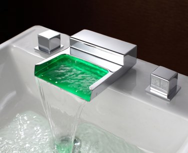 Contemporary 3 Color Changing LED Waterfall Bathroom Sink Faucet LED LAVTORY SINK FAUCET