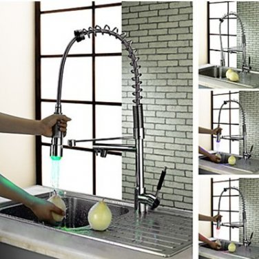 Solid Brass LED Kitchen Faucet  puLL OUT LED FAUCET SPRING LED FAUCET CUPC FAUCET
