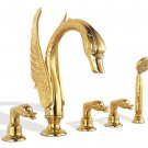 Free shipping PVD Gold finish 5pcs swan bathtub and shower faucet