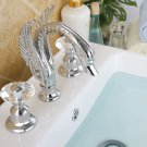 "SWAN LAV FAUCET  8""  WIDESPREADY crystal handles swan sink  FAUCET DECK MOUNTED"