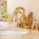 Free shipping SWAN  sink FAUCET 3 pieces  WIDESPREADY crystal handles swan sink  FAUCET mixer tap