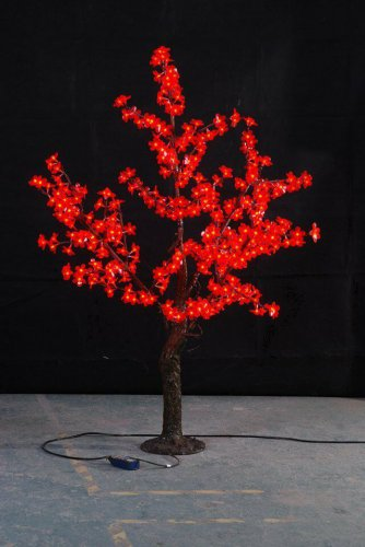 RED 5ft height  Simulation LED Cherry Blossom Tree with Natural Trunk Christmas wedding holiday Deco