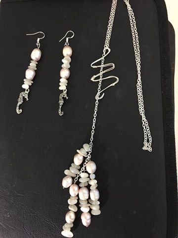 Handcrafted Pearl Jewelry Necklace and Earring Set