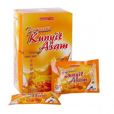 SidoMuncul permen kunyit asam 150 gram Turmeric sour Tamarind candy 15-ct @10 gr