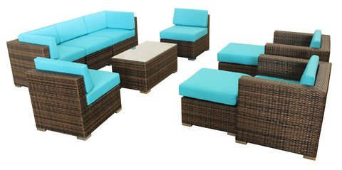 10 Piece Modern Outdoor Wicker Patio Furniture Set Rattan