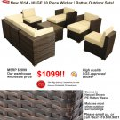 10 Piece Outdoor Wicker Patio Furniture Chair / Table Set PE Rattan